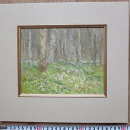 Картины, постеры, гобелены, панно - картина Лес в апреле,картон,масло, 0