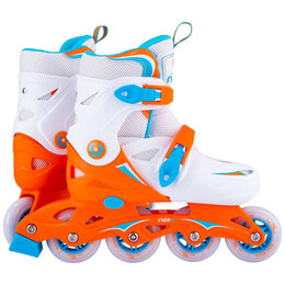 Роликовые коньки - Ролики раздвижные детские Ridex - Cricket (пласт. рама) Оранжевый / Белый, 0