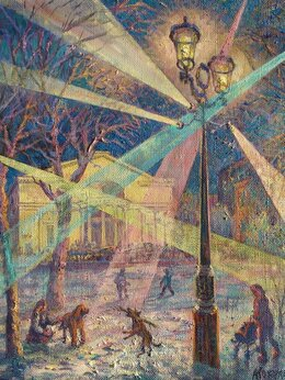 Картины, постеры, гобелены, панно - Зимний вечер на Чистых прудах, 0