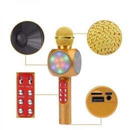 Микрофоны - Светящийся караоке-микрофон WS 1816 золотой, 0
