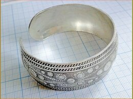 Браслеты - БРАСЛЕТ-МАНЖЕТА наруч орнамент медь серебрение, 0