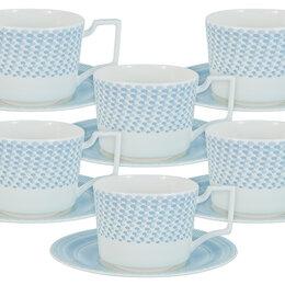 """Блюда, салатники и соусники - Чайный сервиз фарфоровый голубой на 6 персон """"Блюз"""", 0"""