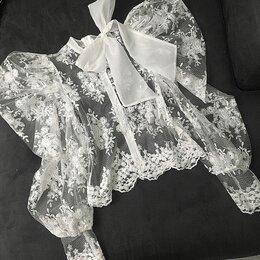 Блузки и кофточки - белая ажурная блузка с рукавами фонарик и бантом, 0