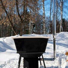 Бочки и купели - Сибирский Банный Чан на 4 человека из чёрного металла на подставке с печью, 0