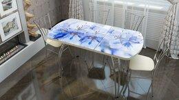 Столы и столики - Стол раздвижной со стеклом фотопечать: голубые…, 0