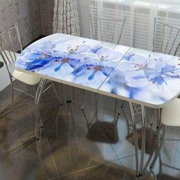 Столы и столики - Стол раздвижной со стеклом фотопечать: голубые цветы, 0