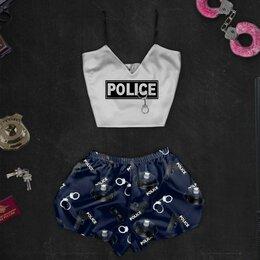 Домашняя одежда - Шелковая пижама с принтом Полиция (размер S), 0