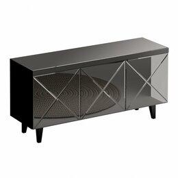 Тумбы - Тумба под телевизор с 3 дверцами стекло черное Kristal, 0