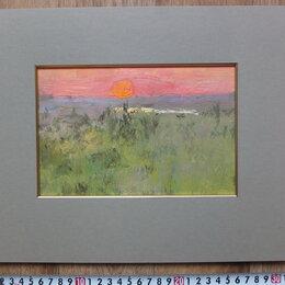Картины, постеры, гобелены, панно - картина Степной закат,картон,масло, 0