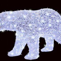 Новогодний декор и аксессуары - Светодиодная фигура - Белый медведь - Объемная, 0