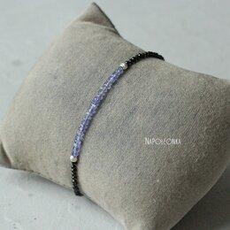 Браслеты - Браслет из натурального танзанита и черной шпинели. Серебро 925 пробы, 0