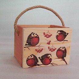 Корзины, коробки и контейнеры - ящик с веревочной ручкой снегири дерево, 0