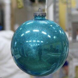 Новогодний декор и аксессуары - Большой шар 35 см с глиттером, бирюзовый, 0