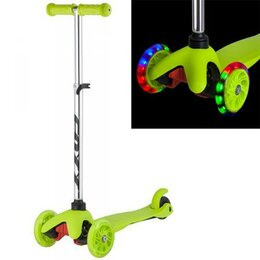 Самокаты - Самокат Foxx Disco-kids светящиеся колеса, зелёный, 0