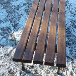 Скамейки - Скамейка садовая  на мет. каркасе с деревянным сиденьем.180х45х44 см., 0