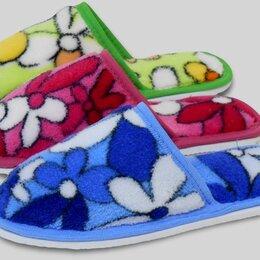 Домашняя обувь - Детские тапочки велсофт с закрытым носом в цветочек, 0