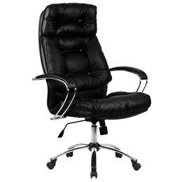Компьютерные кресла - Кожаное офисное кресло руководителя Линкольн-14 хром, 0