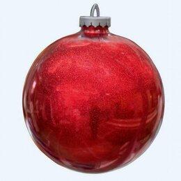Новогодний декор и аксессуары - Ёлочный шар 25 см,с глиттером (красный лак), 0