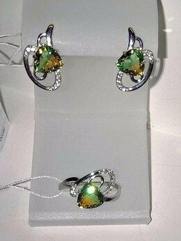 Комплекты - Серьги и кольцо серебро 925пр. камень Турмалин,…, 0