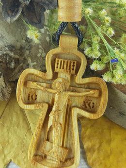 Кулоны и подвески - Резной нательный крест из дерева, 0