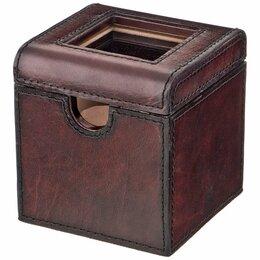 Шкатулки для часов - Шкатулка для часов коричневая кожаная 10,5х10,5 см, 0