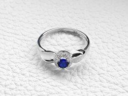 Кольца и перстни - Кольцо с сапфиром и 14 бриллиантами из белого…, 0