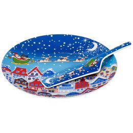 Декоративная посуда - Тортовница фарфоровая синяя с лопаткой , 0