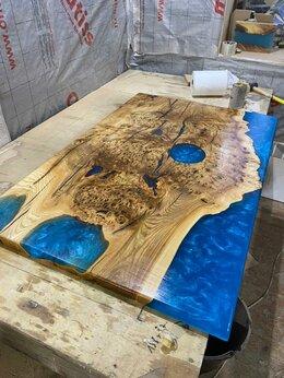 Столы и столики - Стол-река из массива карагача с эпоксидной смолой, 0