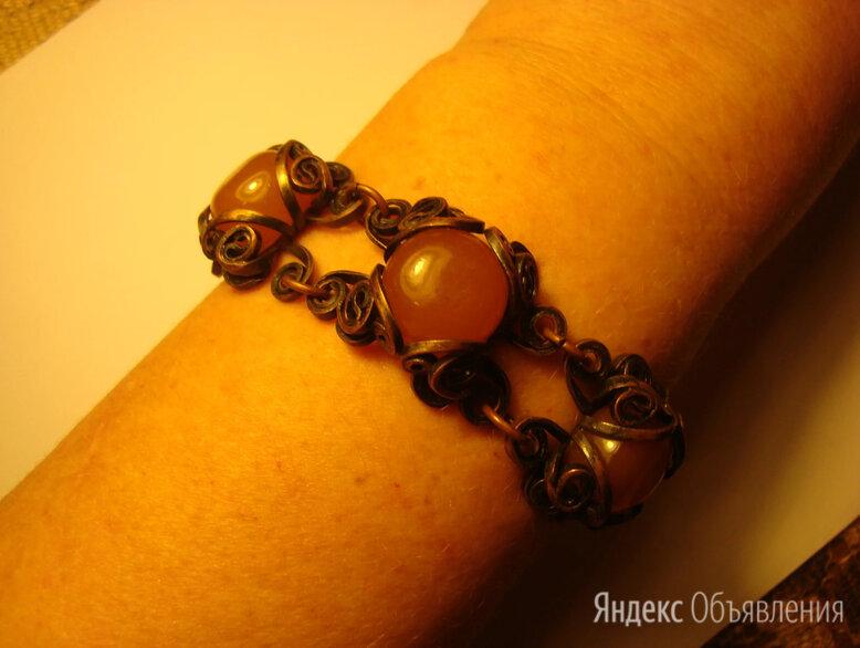 Браслет с янтарём, дизайнерское изделие по цене 3500₽ - Браслеты, фото 0