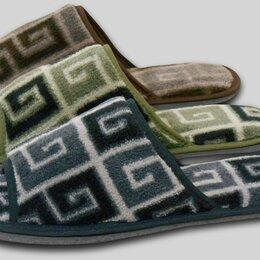 Домашняя обувь - Мужские тапочки велсофт с открытым носом, 0
