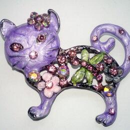 Броши - Брошь кошка, эмаль со стразами, дл. 5 см, 0