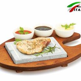Сковороды и сотейники - Каменная сковорода Bisetti 99050 камень для жарки мяса стейков гриль овощи, 0