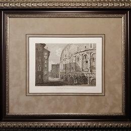 Гравюры, литографии, карты - 1851 год. Гравюра, Театр Марцелла, Рим, Италия,…, 0