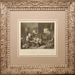 Гравюры, литографии, карты - 1873 год Старинная гравюра Парикмахеры-хирурги в…, 0