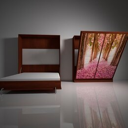Кровати - Подъемная двуспальная кровать в шкафу 160х200. Взрослая с фотопечатью Ф-2, 0