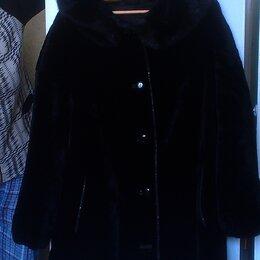 Шубы - полушубок цигейковый с капюшоном, чёрный. Размер 52-54, 0