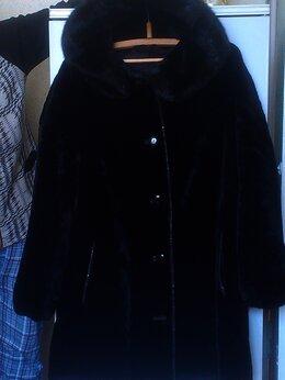 Шубы - полушубок цигейковый с капюшоном, чёрный. Размер…, 0