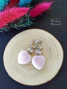 Серьги - Серьги с розовым кварцем., 0