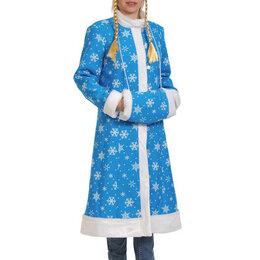 Карнавальные и театральные костюмы - Снегурочка-миди бирюза ткань-плюш., 0