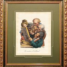 Гравюры, литографии, карты - 1828 год. Любители картин, литография, акварель,…, 0