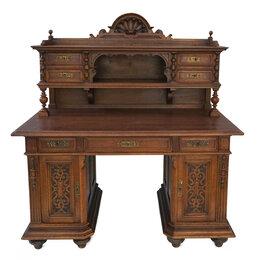 Компьютерные и письменные столы - Пристенный письменный стол с надстройкой-картоньером, 0