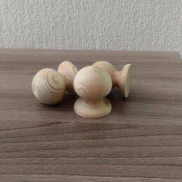 Ручки дверные - Ручка-кнопка деревянная, не окрашенная, 0
