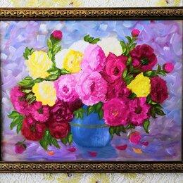 Картины, постеры, гобелены, панно - Картина Розы в вазе. ДВП, масло, 45 на 34 см, 0