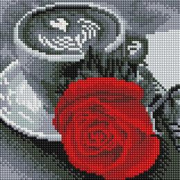 Рукоделие, поделки и товары для них - Алмазная мозаика Paintboy чашка кофе и роза, 0