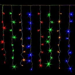Новогодний декор и аксессуары - Светодиодная гирлянда штора-дождик 1,5х1,5 метра цветная, 0