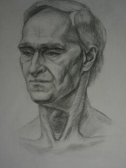 """Картины, постеры, гобелены, панно - Академический рисунок на бумаге """"Мужской портрет"""", 0"""