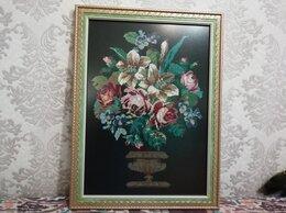 """Картины, постеры, гобелены, панно - Ретро-картина, вышитая  крестом """"Цветы в вазе"""" , 0"""