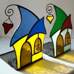 Подсвечники - Стеклянный подсвечник-домик из витражного стекла., 0