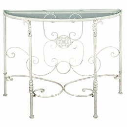 Столы и столики - Консоль кованая полукруглая белый антик со…, 0