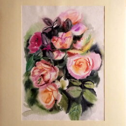 Картины, постеры, гобелены, панно - Розы. Акварель. Цветы,сад,розовый,букет,лето,картина, 0